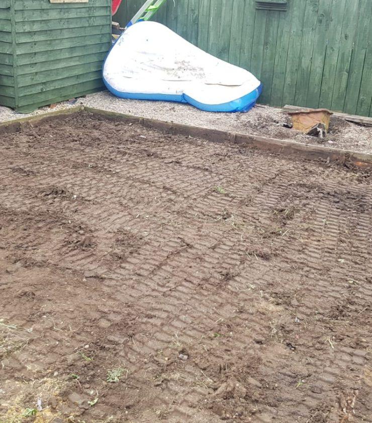 Patio & Artificial Grass Installation Before