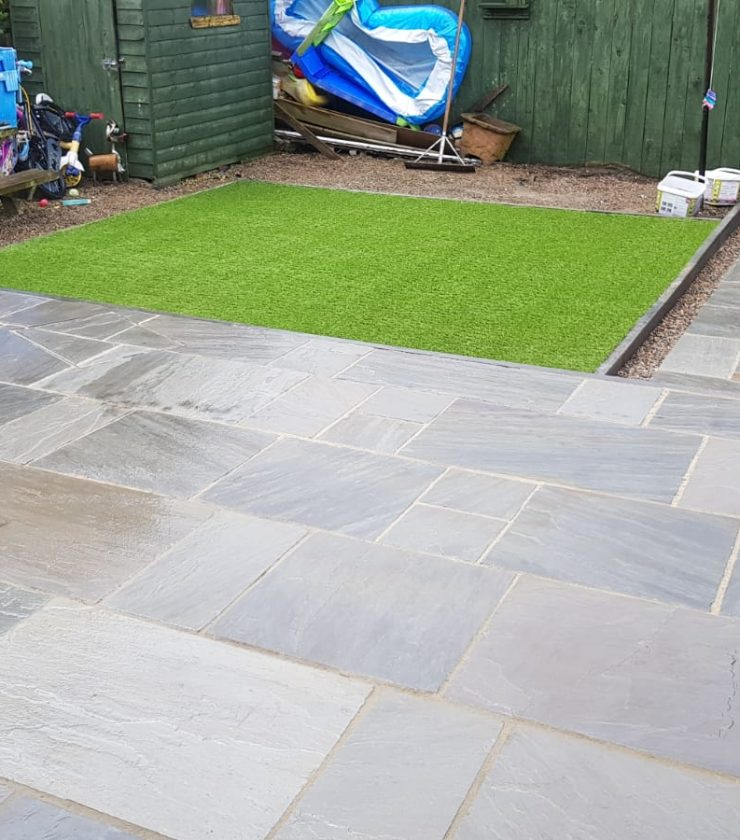 Patio & Artificial Grass Installation After - Advanced Driveway